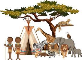 Tribu africaine avec groupe d'animaux africains sauvages sur fond blanc