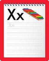 feuille de calcul de traçage alphabet avec la lettre x et x