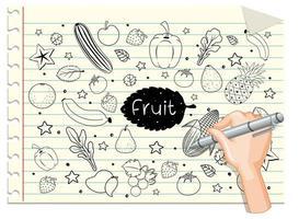 dessin à la main des fruits en style doodle ou croquis sur papier
