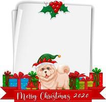 papier vierge avec logo de polices joyeux noël 2020 et chien