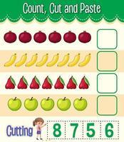 compter, couper et coller une feuille de calcul mathématique pour les enfants