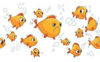 poissons rouges d'aquarium. panorama sans couture pour enfants vecteur