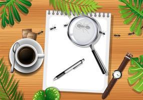 vue de dessus de la table en bois avec des objets de bureau et des éléments de feuilles vecteur