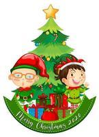 Joyeux Noël 2020 bannière de polices avec elfe mignon et de nombreux cadeaux sur fond blanc vecteur