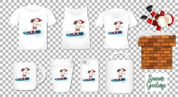 Père Noël dansant le personnage de dessin animé avec un ensemble de produits de vêtements et accessoires différents sur fond transparent vecteur