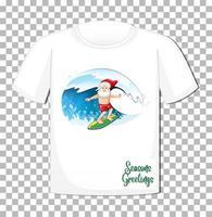 personnage de dessin animé de père Noël dans le thème de l'été de Noël sur t-shirt sur fond transparent vecteur