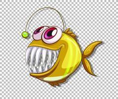 Personnage de dessin animé de poisson pêcheur jaune sur fond transparent vecteur