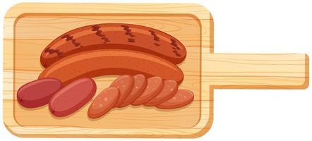 De nombreuses saucisses sont sur une planche à découper en style cartoon isolé sur fond blanc vecteur
