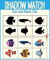 trouver la bonne feuille de calcul d'ombre et de correspondance d'ombre pour l'élève de la maternelle