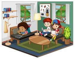 enfants dans le salon dans une scène de thème vert sur fond blanc