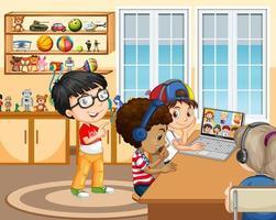 Enfants utilisant un ordinateur portable pour communiquer par vidéoconférence avec des amis dans la scène de la salle vecteur