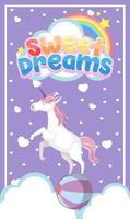 logo de beaux rêves avec licorne mignonne sur fond violet vecteur