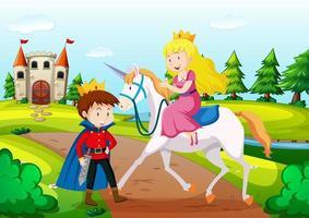 prince et princesse dans une scène de terre de conte de fées