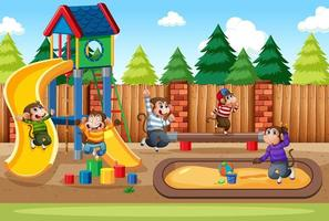 cinq petits singes sautant dans la scène de l'aire de jeux du parc