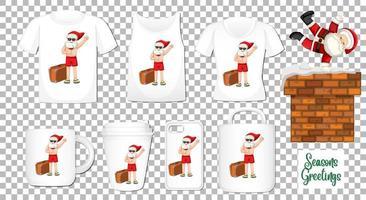 Père Noël dansant le personnage de dessin animé avec un ensemble de produits de vêtements et accessoires différents sur fond transparent