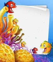 modèle de papier vierge avec personnage de dessin animé de poissons exotiques dans la scène sous-marine