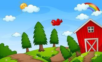 ferme grange rouge dans la scène de la nature avec arc en ciel dans le ciel