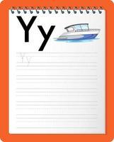 Feuille de calcul de traçage alphabet avec les lettres y et y vecteur