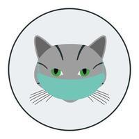 avatar de chat avec masque médical vecteur