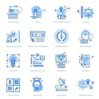 ensemble d'icônes de ligne plate de conception graphique et processus créatif vecteur