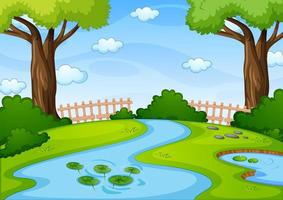 ruisseau dans la scène du parc naturel vecteur
