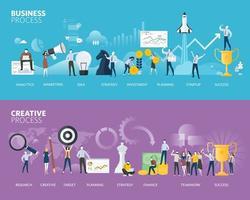 bannières web de style design plat du processus commercial vecteur