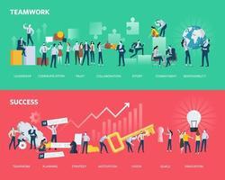 bannières web de style design plat de travail d'équipe et de succès vecteur