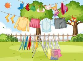 vêtements de séchage et suspendus fond extérieur