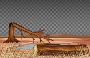 paysage de terre sèche sur fond transparent vecteur