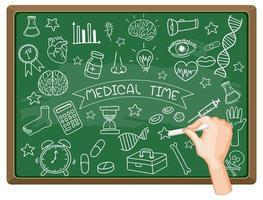 main, dessin, élément médical, sur, tableau noir vecteur