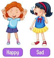 Adjectifs opposés mots avec heureux et triste