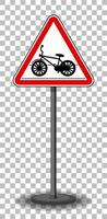 signe de passage à vélo avec support isolé sur fond transparent