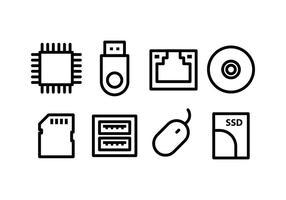 Ensemble d'icônes de matériel informatique vecteur