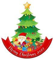Joyeux Noël 2020 bannière de polices avec le père Noël et de nombreux cadeaux sur fond blanc vecteur