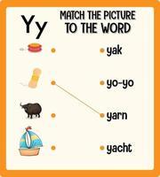 faire correspondre l'image à la feuille de calcul de mots pour les enfants vecteur
