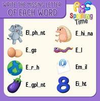 remplir la lettre manquante de chaque feuille de calcul de mot pour les enfants vecteur