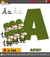 lettre a de l'alphabet avec l'armée de dessin animé