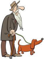 dessin animé senior marchant avec des personnages de bande dessinée de chien