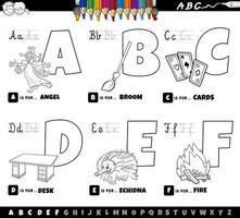 Lettres de l'alphabet de a à f livre de coloriage