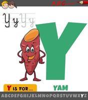 Lettre y de l'alphabet avec légume d'igname de dessin animé vecteur