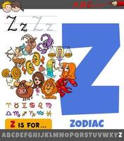 lettre z de l'alphabet avec des signes du zodiaque de dessin animé vecteur