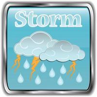 icône météo jour avec tempête de texte vecteur