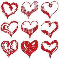 Ensemble de croquis de coeurs de la Saint-Valentin isolé sur fond blanc vecteur