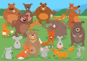 groupe de personnages animaux sauvages de dessin animé vecteur