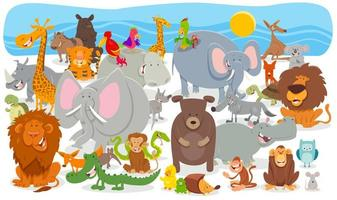 fond de groupe de personnages animaux de dessin animé vecteur