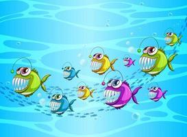 personnage de dessin animé de nombreux poissons exotiques dans la scène sous-marine vecteur