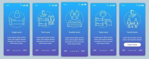Écran de la page de l'application mobile d'intégration de réservation d'hôtel vecteur