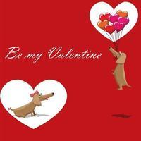 Saint Valentin, chien avec des ballons volant carte postale