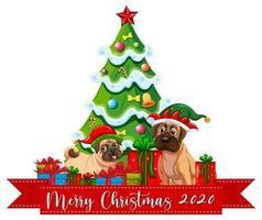 Joyeux Noël 2020 bannière de polices avec chien mignon sur fond blanc vecteur