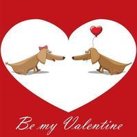 carte postale de la saint valentin, chiens avec des ballons